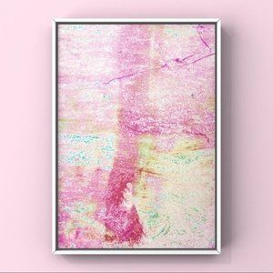 Pink yellow contemporary abstract art print